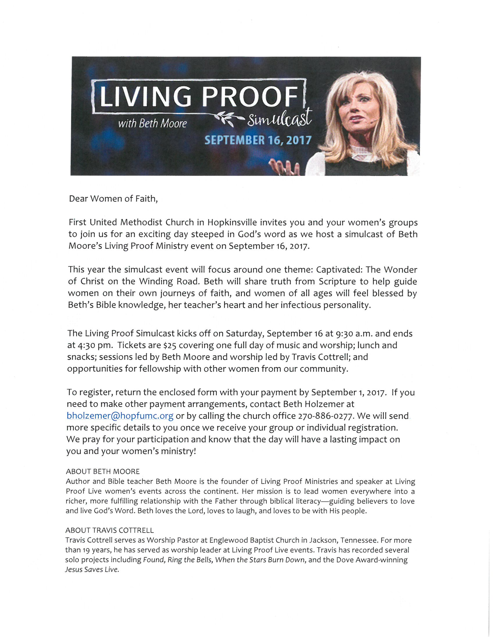 ... join them for an exciting day steeped in God's word as they host a simulcast of Beth Moore's Living Proof Ministry event on September 16th.